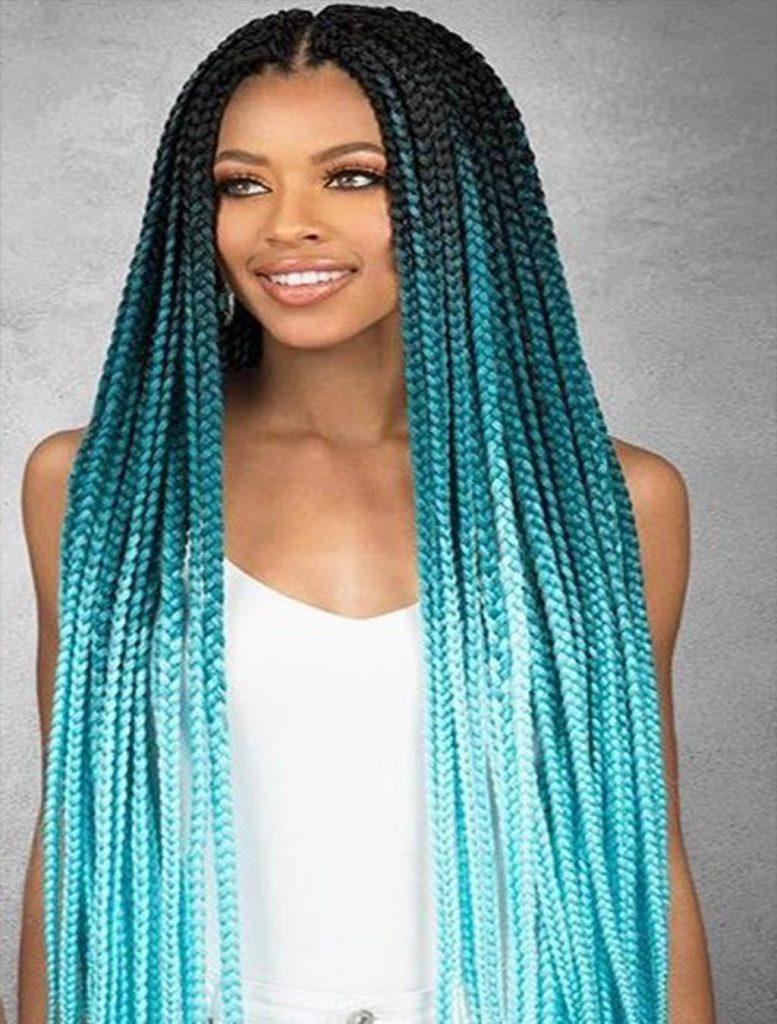 azul degradado 8 Looks con Trenzas africanas de colores a la moda