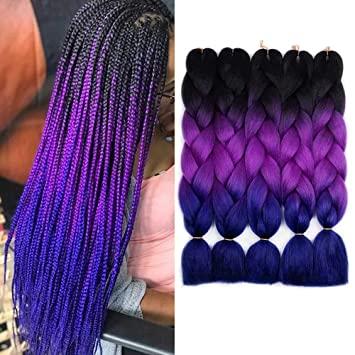 degradacion 8 Looks con Trenzas africanas de colores a la moda