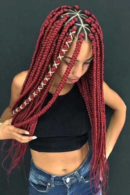 trenzas f.grruesas 8 Looks con Trenzas africanas de colores a la moda